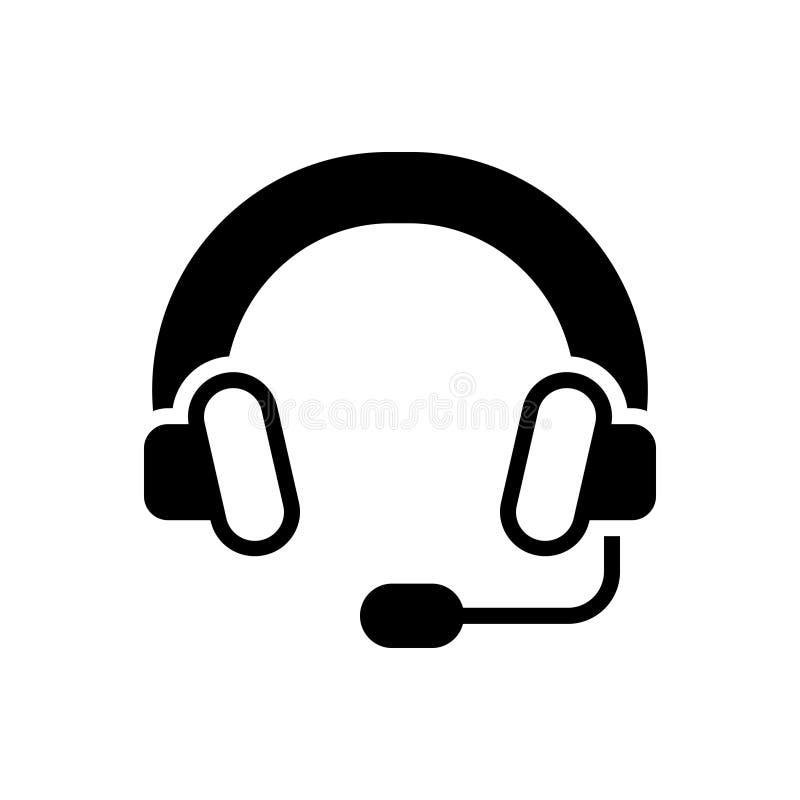 Svart fast symbol för hörlurar med mikrofon, headphone och att lyssna vektor illustrationer