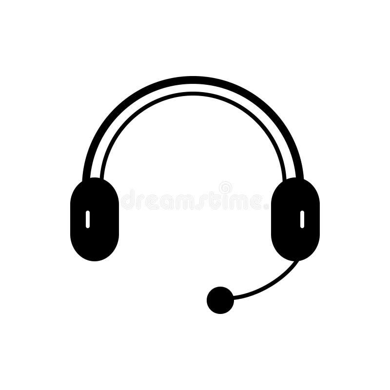 Svart fast symbol f?r Headphone, h?rlur och mikrofon royaltyfri illustrationer