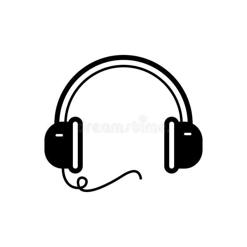 Svart fast symbol för headphonen, app och att lyssna vektor illustrationer