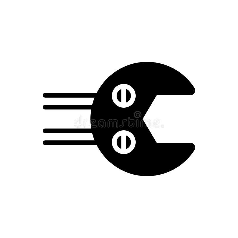 Svart fast symbol för hjälpmedel, utrustning och anvisning royaltyfri illustrationer