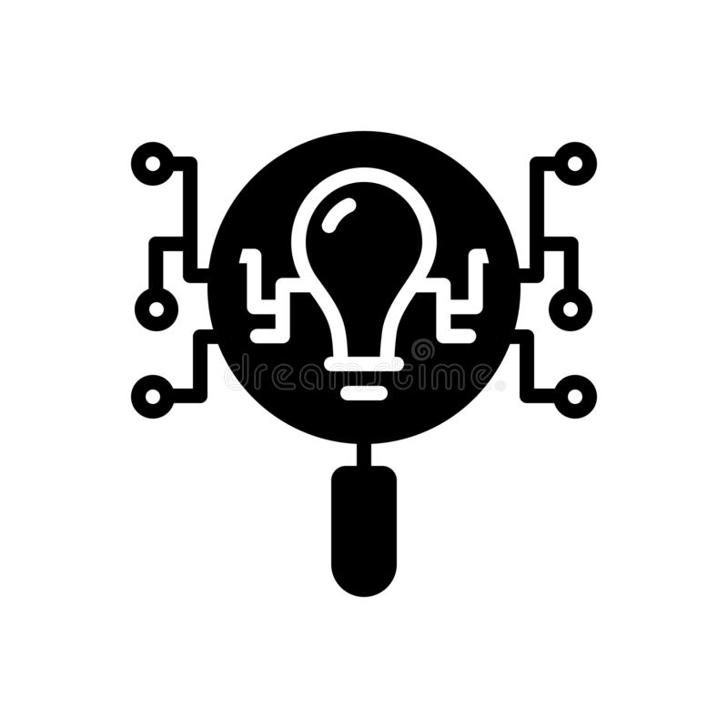 Svart fast symbol för intelligenssökande, intellekt och uppfattning stock illustrationer