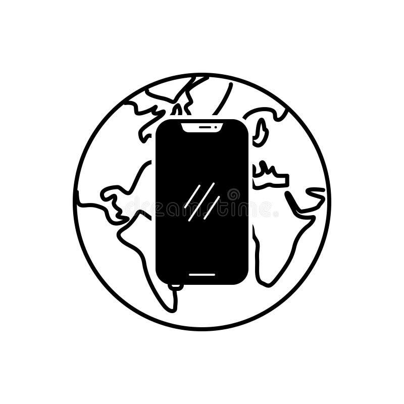 Svart fast symbol för internetapp, nätverk och anslutning stock illustrationer