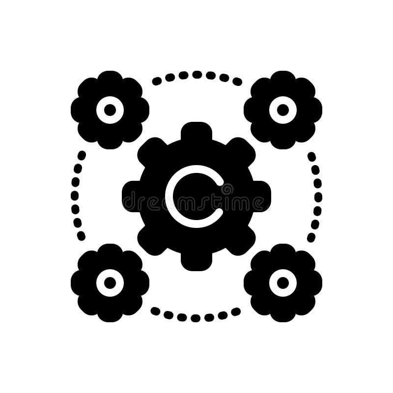 Svart fast symbol för Interoperability, skillnad och sannolikhet vektor illustrationer