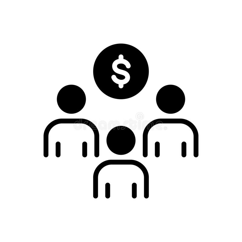 Svart fast symbol för investering, sponsorskap och strategiskt för sponsor vektor illustrationer