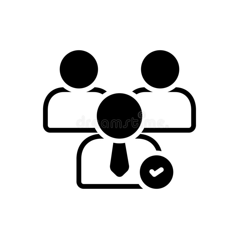 Svart fast symbol för kandidater, kandidatur och fordringsägare stock illustrationer