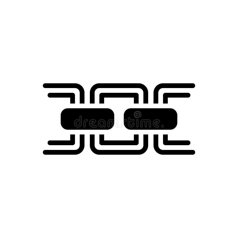 Svart fast symbol för kedja, sammanlänkning och hyperlink royaltyfri illustrationer