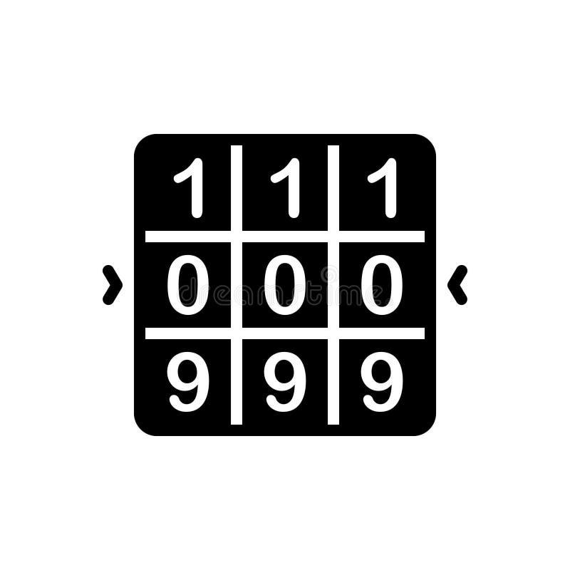 Svart fast symbol för kombination, match och decrypt royaltyfri illustrationer