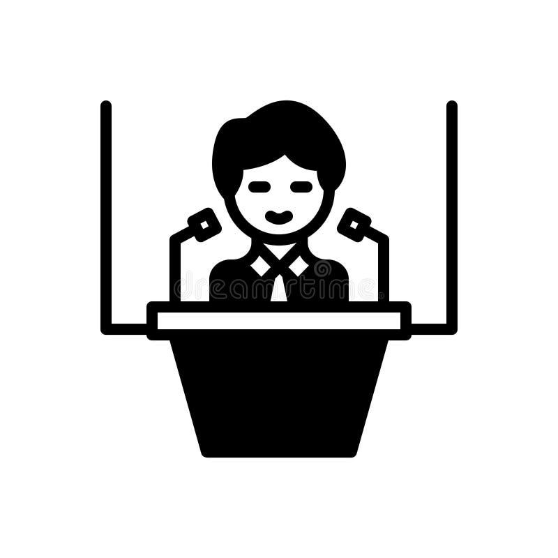 Svart fast symbol f?r konferens, regel och sammankomst royaltyfri illustrationer