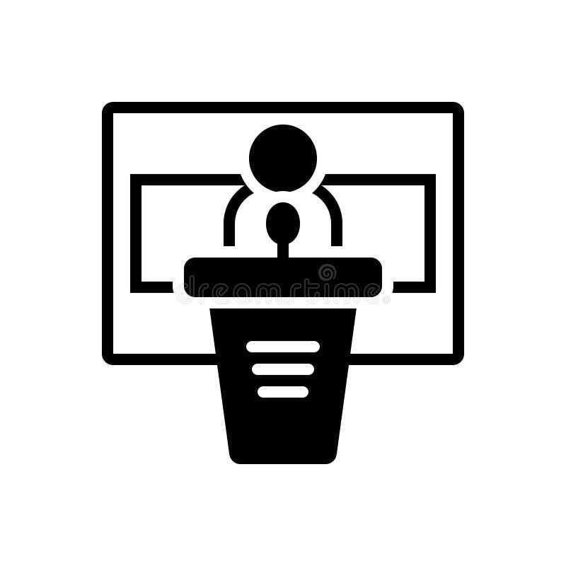 Svart fast symbol för konferens, seminarium och regel stock illustrationer