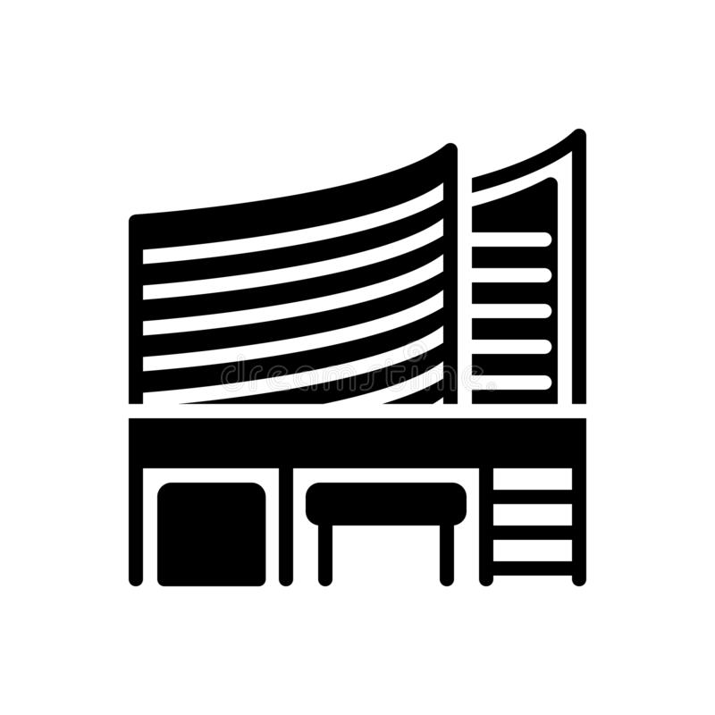 Svart fast symbol för kontor, byggnad och byrå royaltyfri illustrationer
