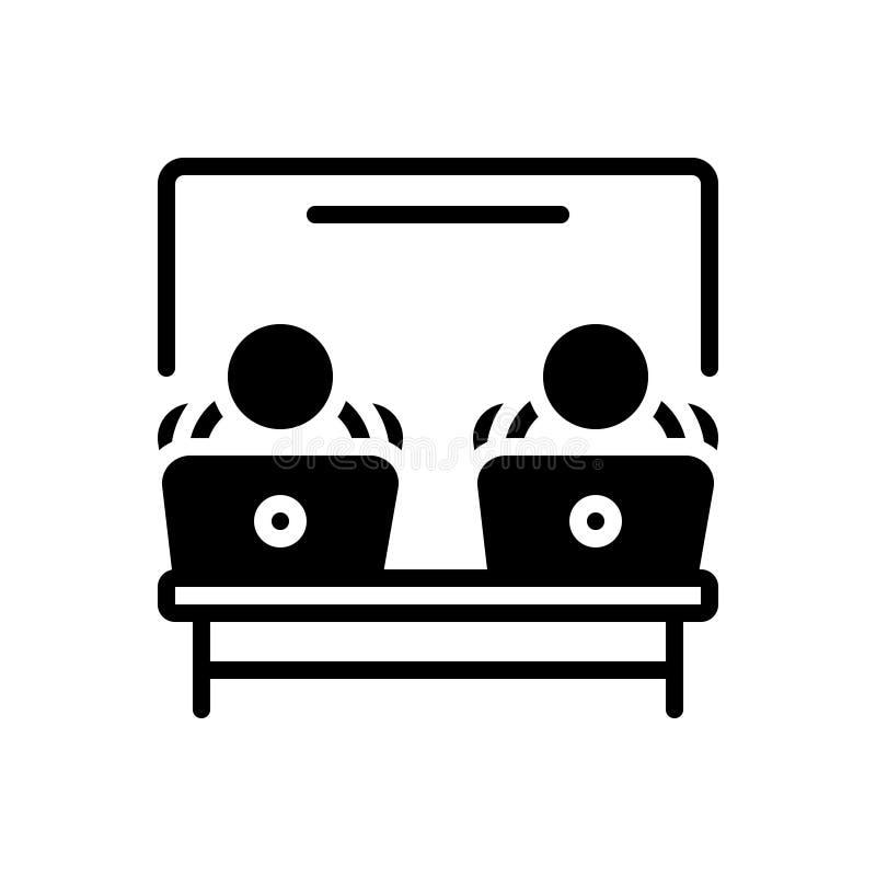 Svart fast symbol för kontorsarbetsplats, arbete och skrivbord stock illustrationer