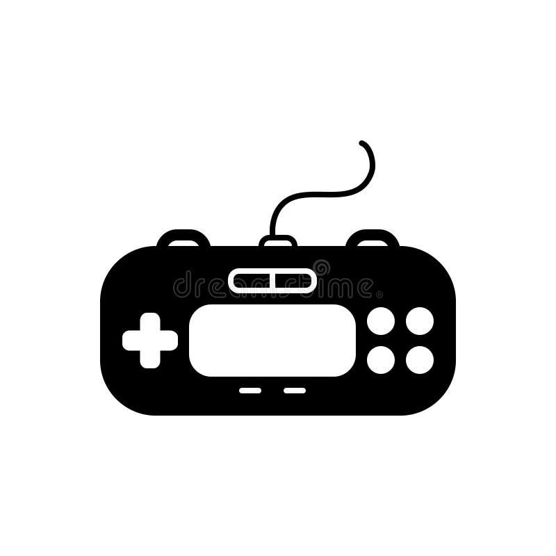Svart fast symbol för kontroll, block och lek vektor illustrationer