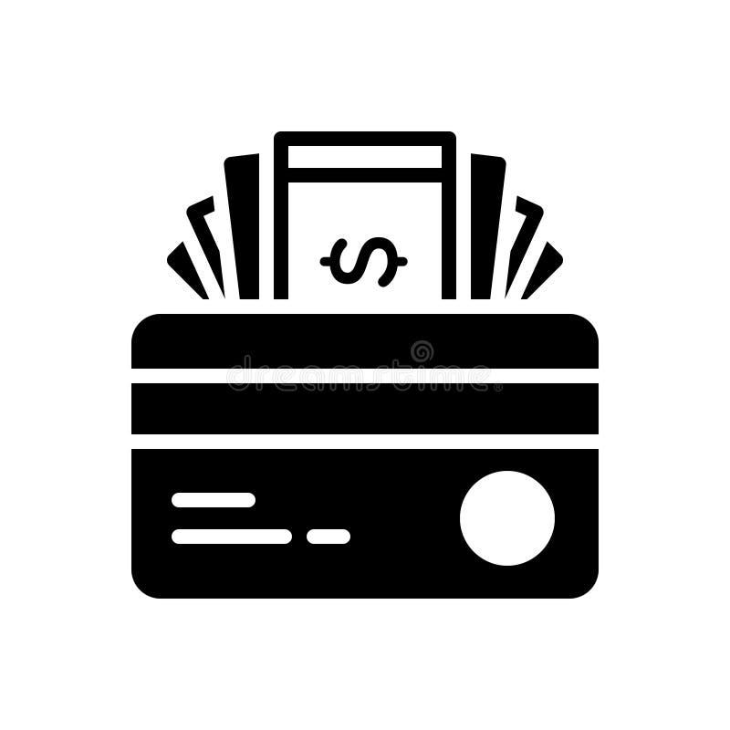 Svart fast symbol för kreditering, kort och debitering stock illustrationer