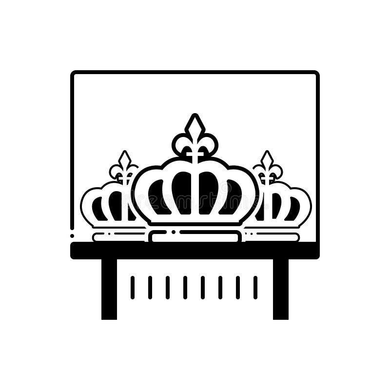 Svart fast symbol för kronautställning, diadem och museum stock illustrationer