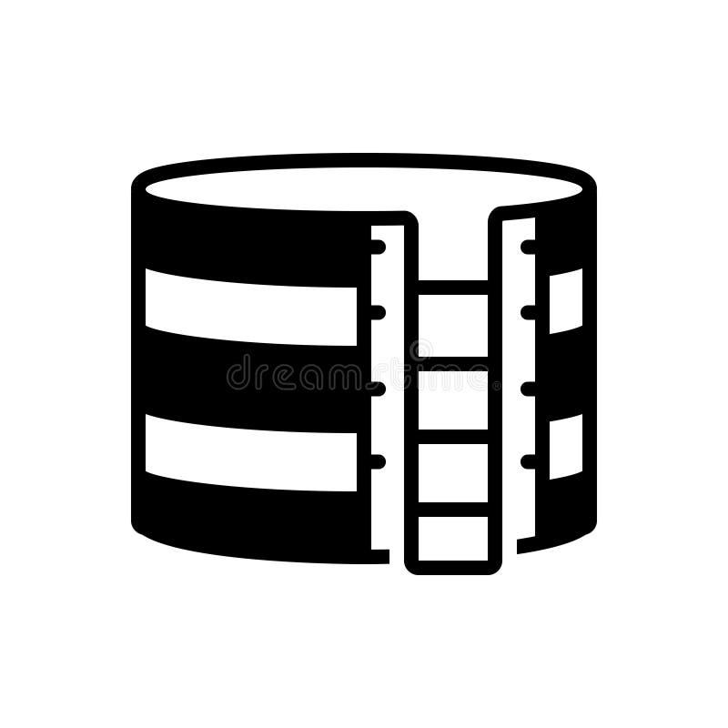 Svart fast symbol för lagringsbehållare, flytande och behållare stock illustrationer