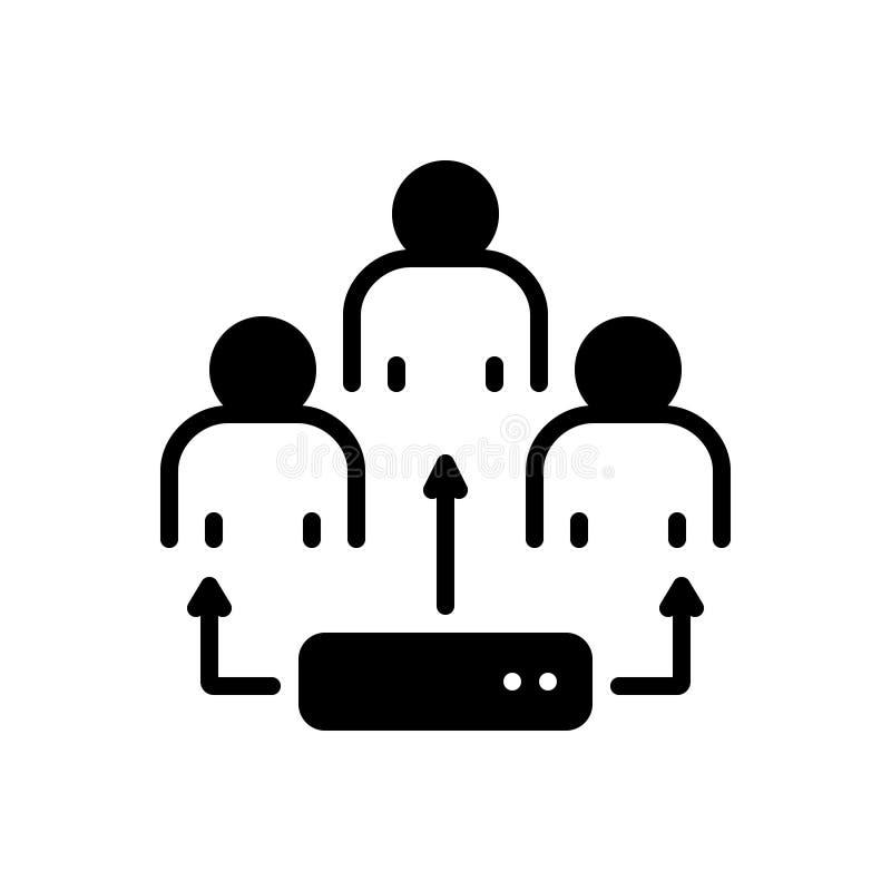 Svart fast symbol för Ldap, utveckling och person vektor illustrationer