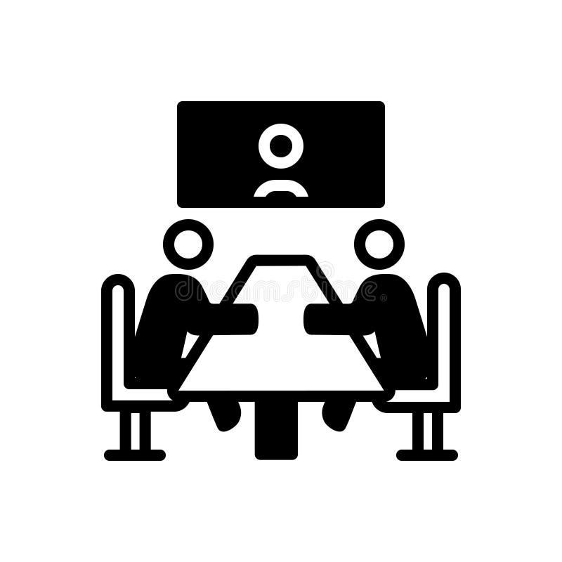Svart fast symbol f?r m?te, regel och konferens royaltyfri illustrationer