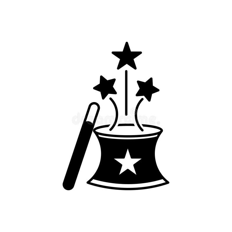 Svart fast symbol för magi, trollkarl och trollkarlar vektor illustrationer