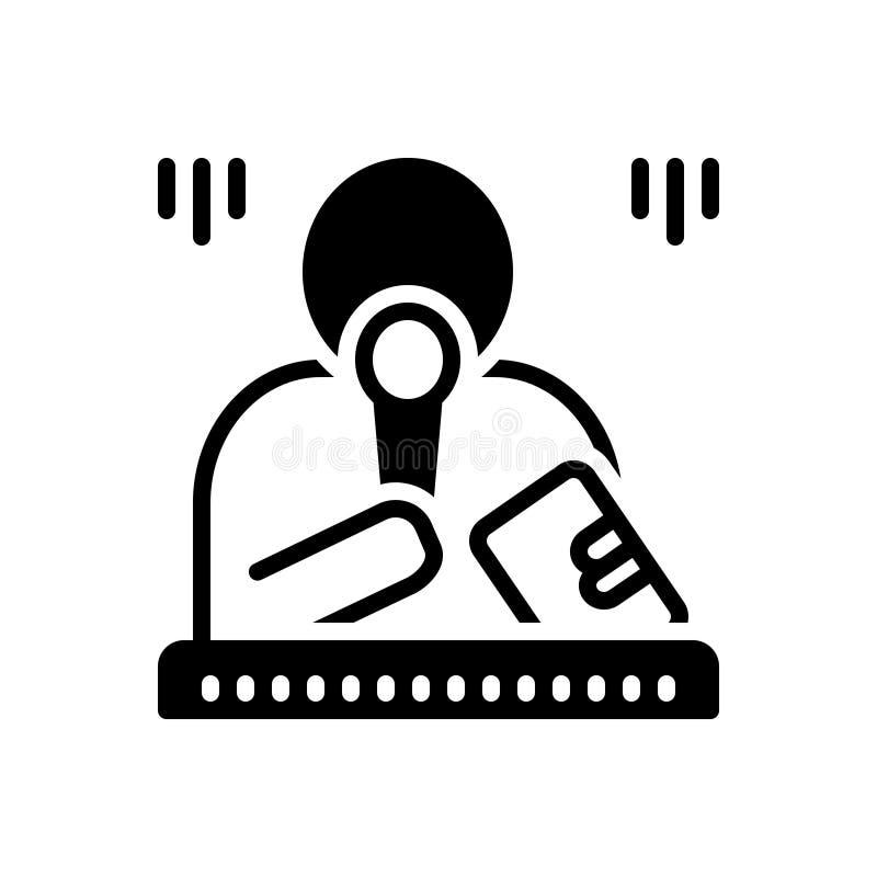 Svart fast symbol för marskalk, förlage och mikrofon vektor illustrationer