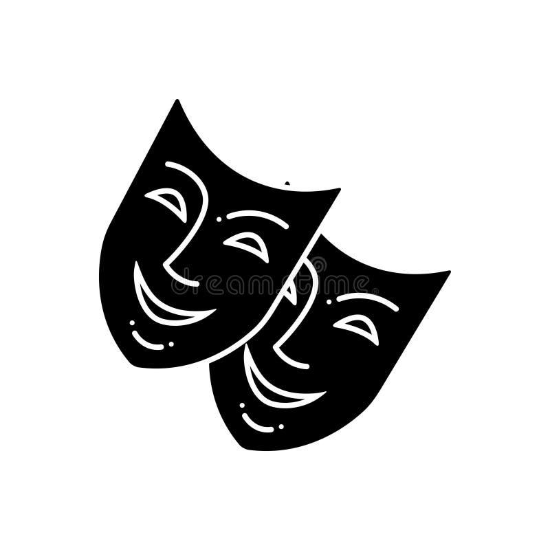 Svart fast symbol för maskering, forntida och framsida royaltyfri illustrationer