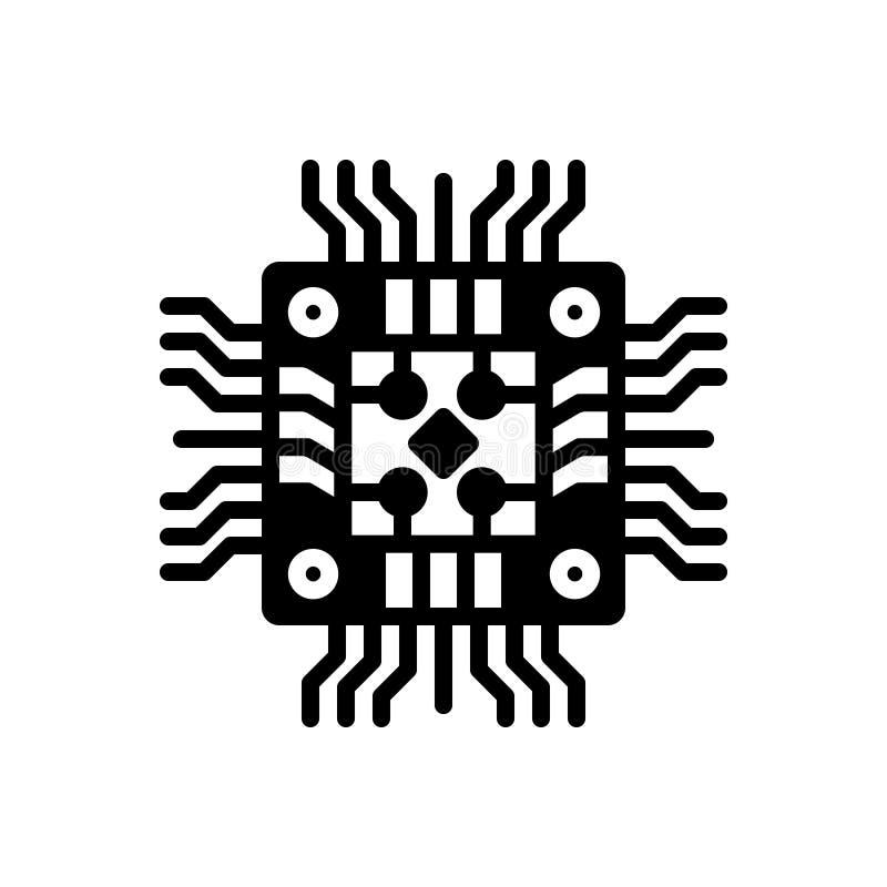 Svart fast symbol för maskinvara, lagring och moderkort stock illustrationer