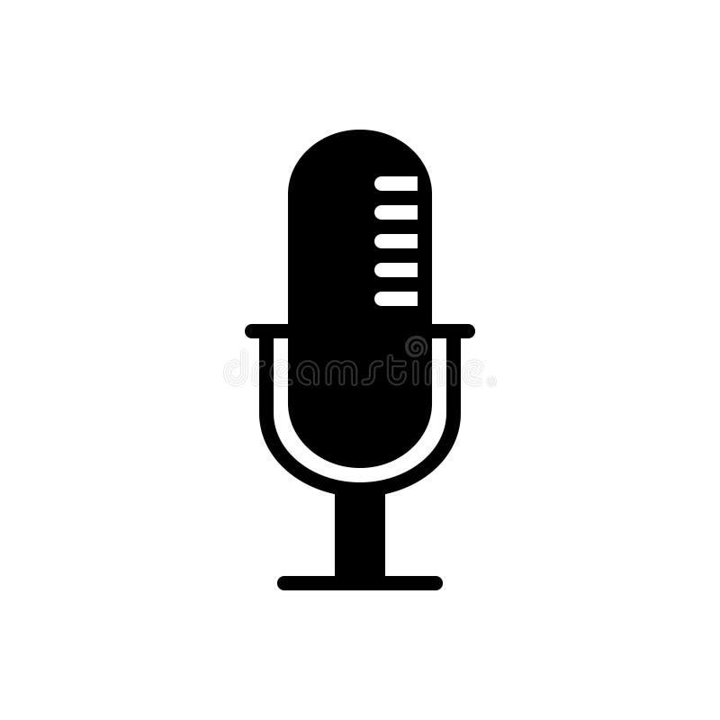 Svart fast symbol för Mike, meddelande och radio vektor illustrationer