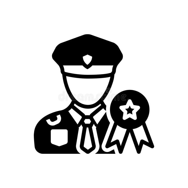 Svart fast symbol för Mlitary, medalj och tjänsteman royaltyfri illustrationer