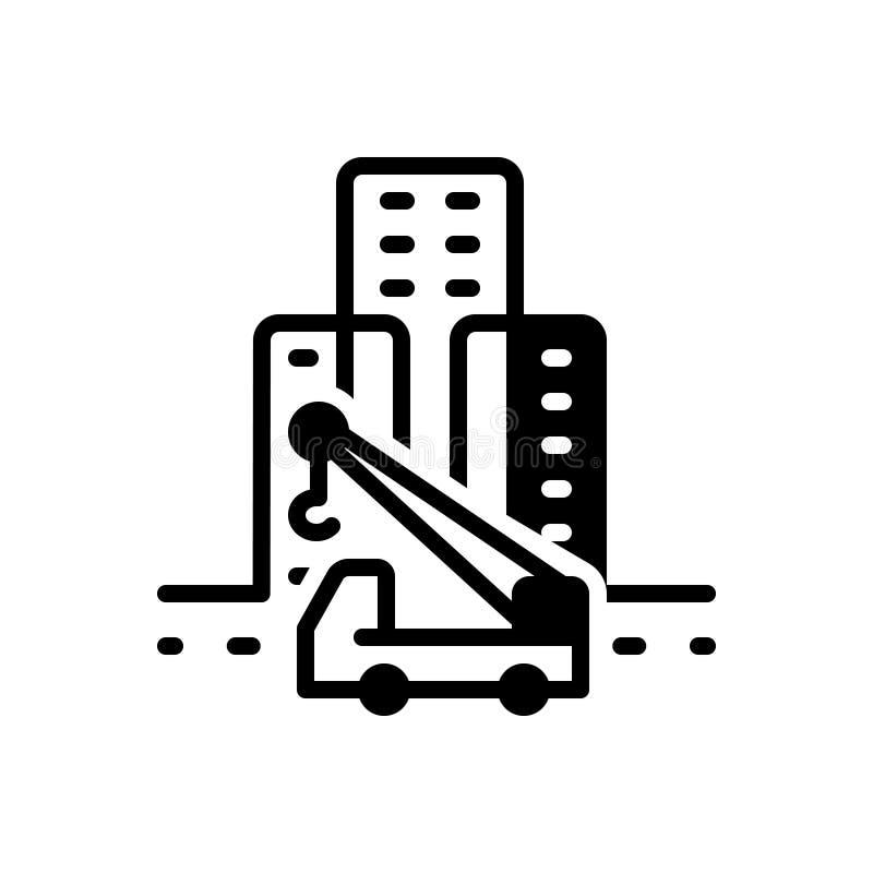 Svart fast symbol för monteringshus, arkitektoniskt och cityscape royaltyfri illustrationer