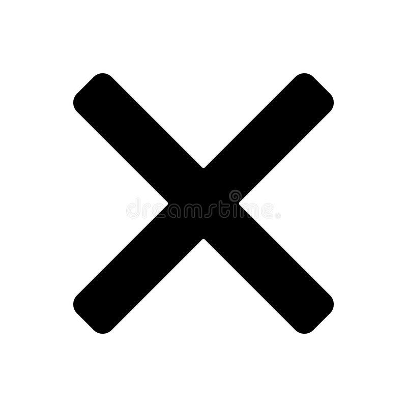 Svart fast symbol för Multiplied, kors och borttagnings royaltyfri illustrationer