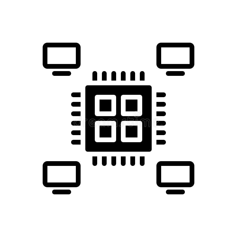 Svart fast symbol för Multiprocessing, multitasking och kapacitet royaltyfri illustrationer