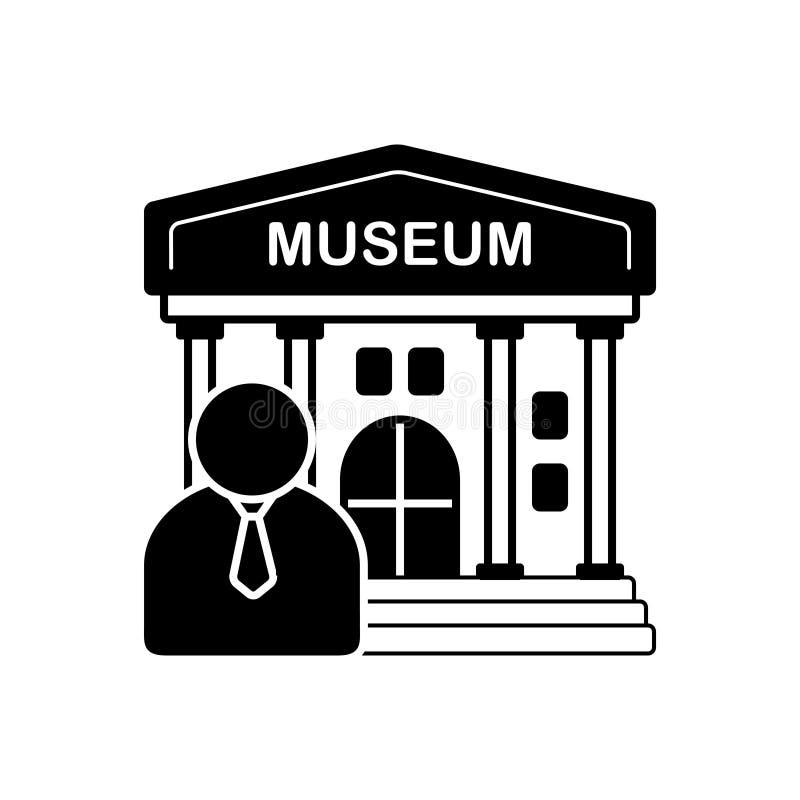 Svart fast symbol för museumhandbok, cicerone och lärare vektor illustrationer