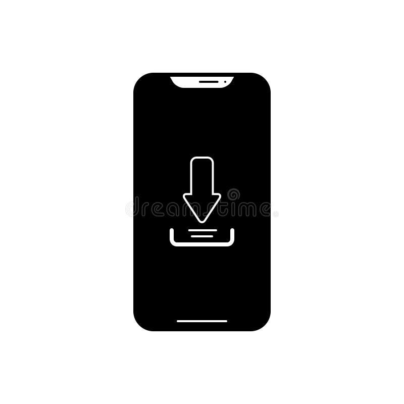 Svart fast symbol för nedladdningapp, telefon och teknologi royaltyfri illustrationer
