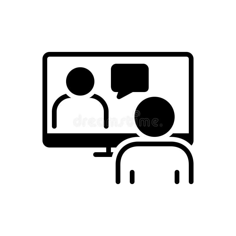 Svart fast symbol för online-konferens, webcam och ledare stock illustrationer