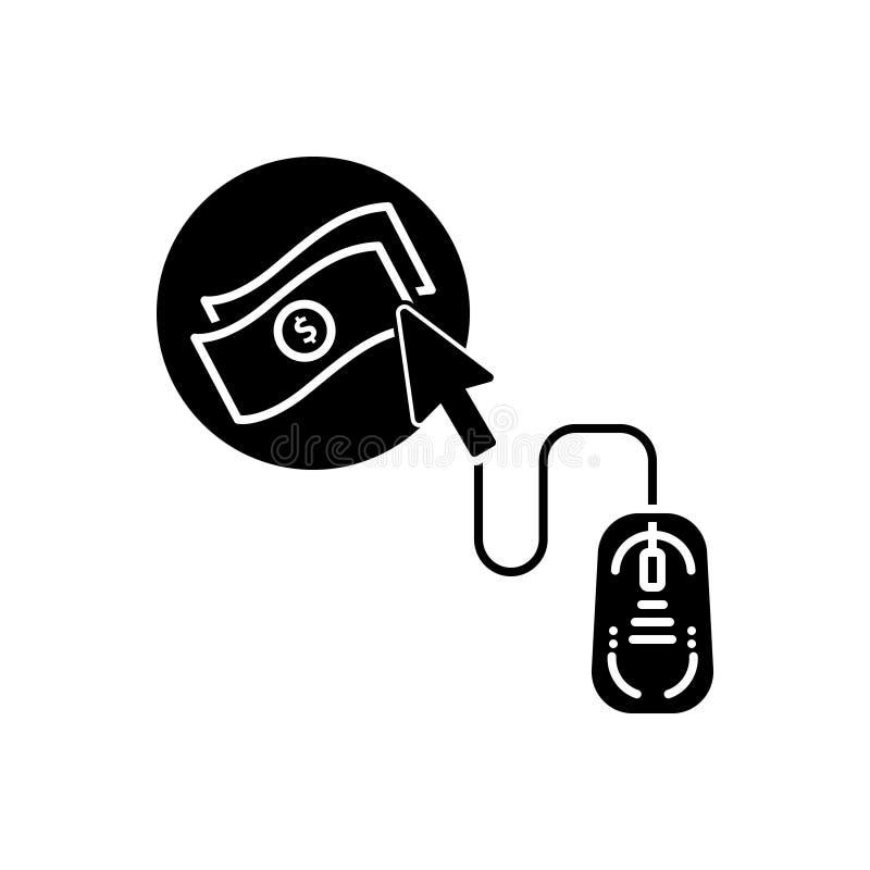 Svart fast symbol f?r online-strategi, klick och digitalt royaltyfri illustrationer