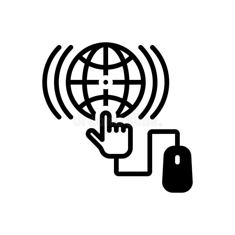 Svart fast symbol för online-, teknologi och programvara vektor illustrationer