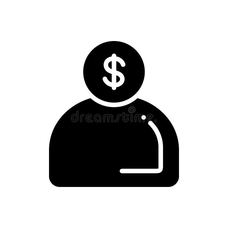Svart fast symbol för orienterade pengar, man och rikedom stock illustrationer