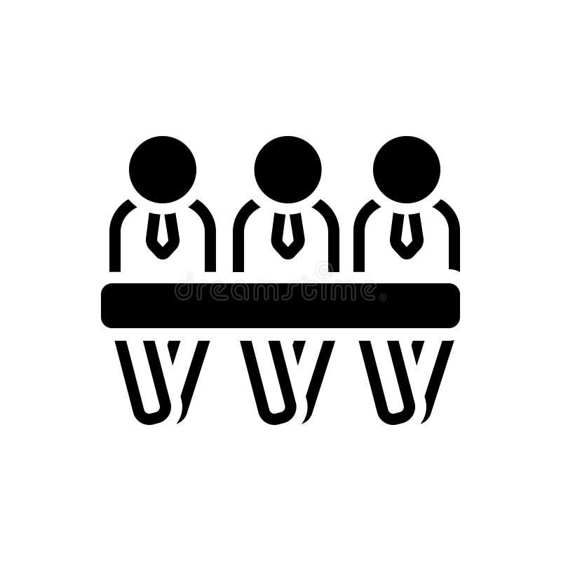 Svart fast symbol för paneldeltagare, gäst och panel stock illustrationer