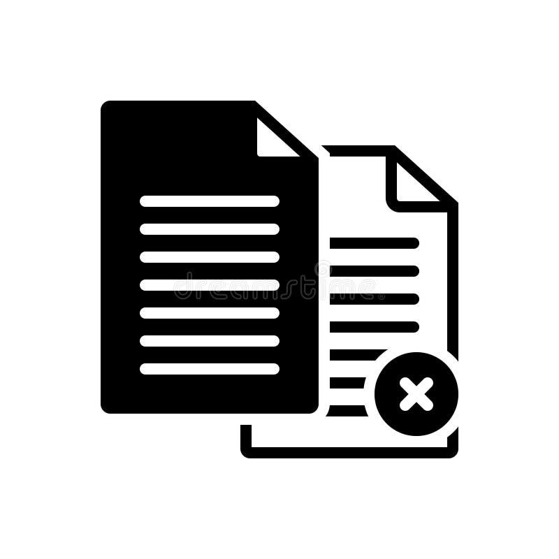 Svart fast symbol för Paperless, annullering och annullering vektor illustrationer