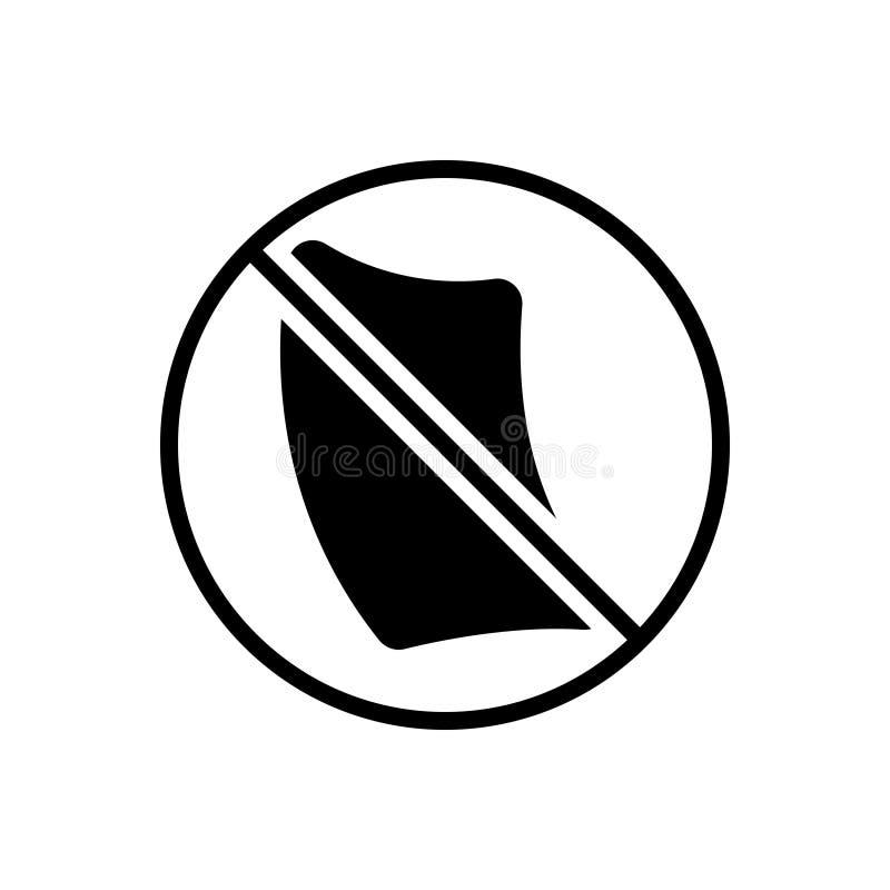Svart fast symbol för Paperless, annullering och annullering royaltyfri illustrationer