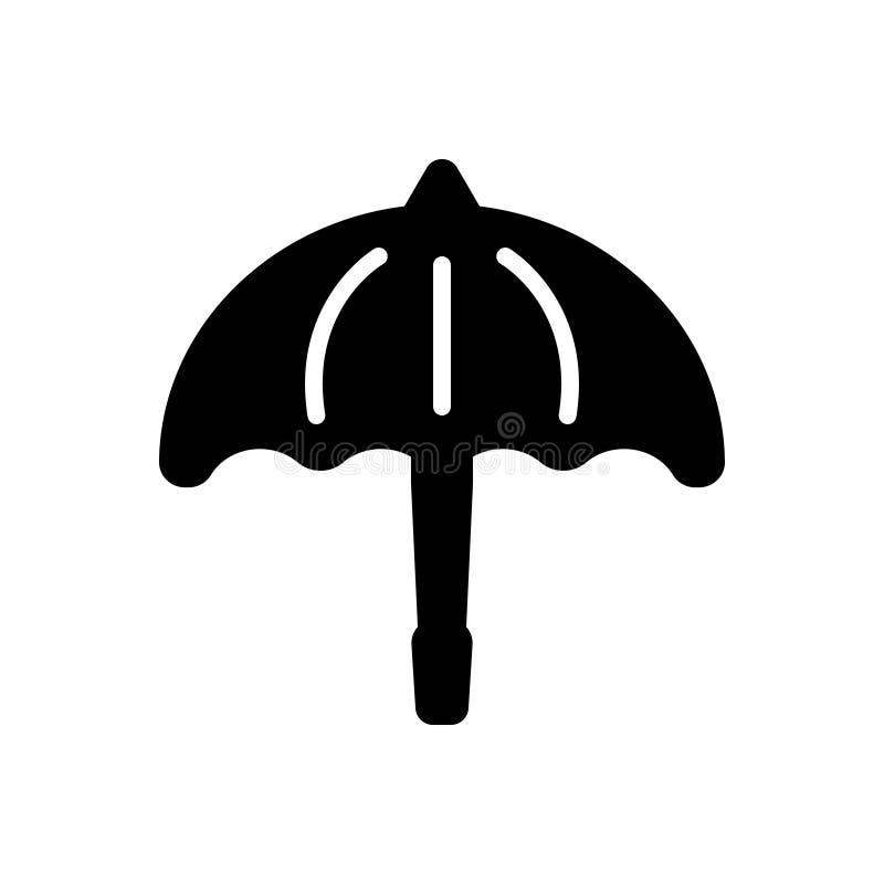 Svart fast symbol för paraply, kassaskåp och säkerhet stock illustrationer