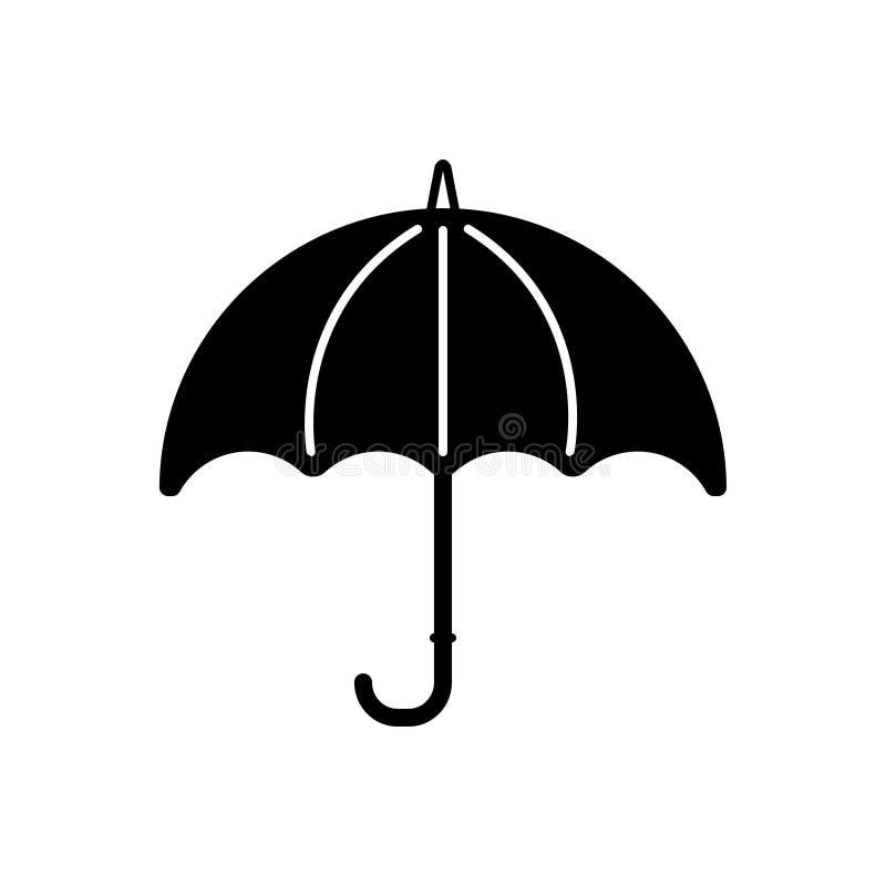 Svart fast symbol för paraply, säkert och regnigt stock illustrationer