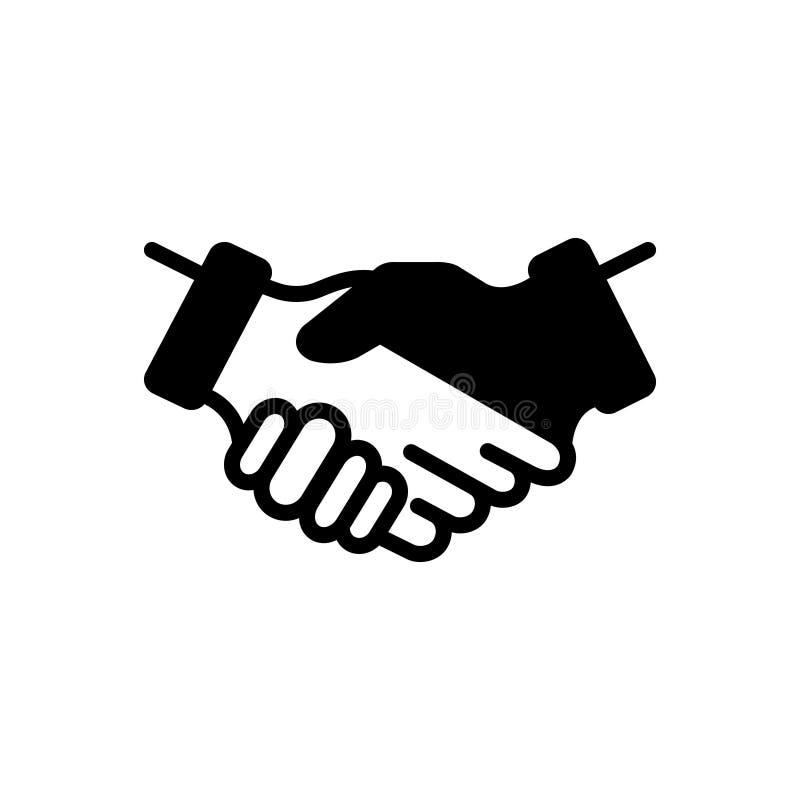 Svart fast symbol för partnerskap, vänskapsmatch och tillsammans royaltyfri illustrationer