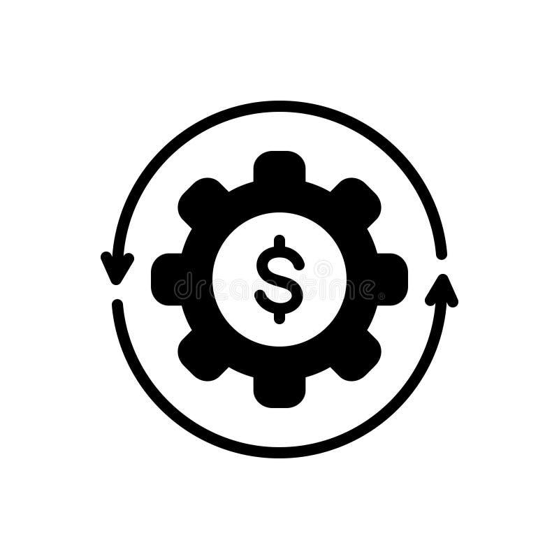 Svart fast symbol för pengarflöde, kassa och att återanvända royaltyfri illustrationer