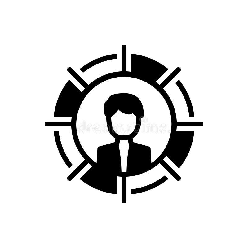 Svart fast symbol för personligt, utveckling och tillväxt stock illustrationer