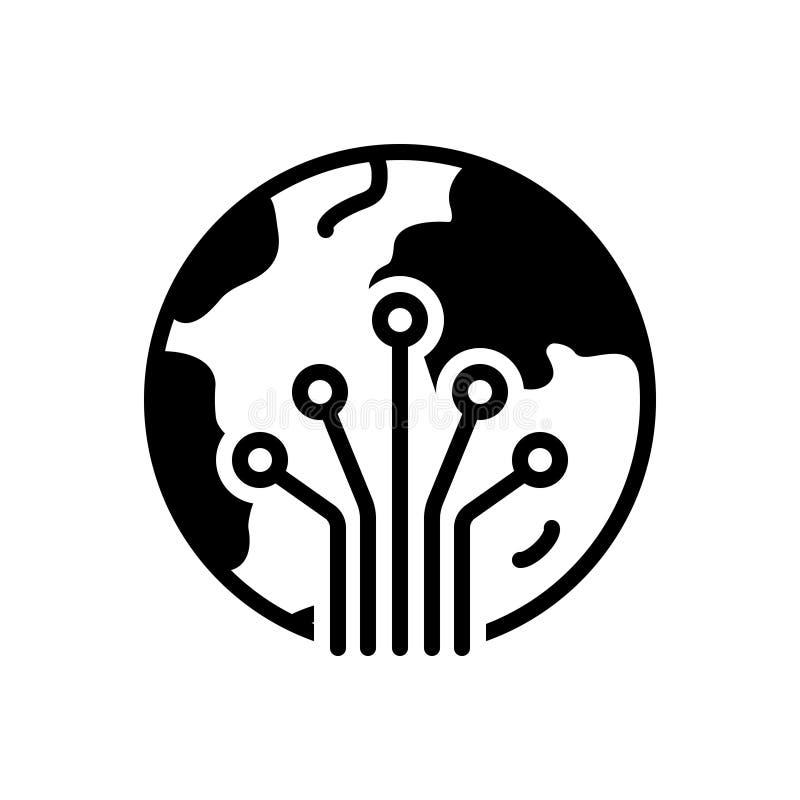 Svart fast symbol för Photonics, fiber och optik royaltyfri illustrationer