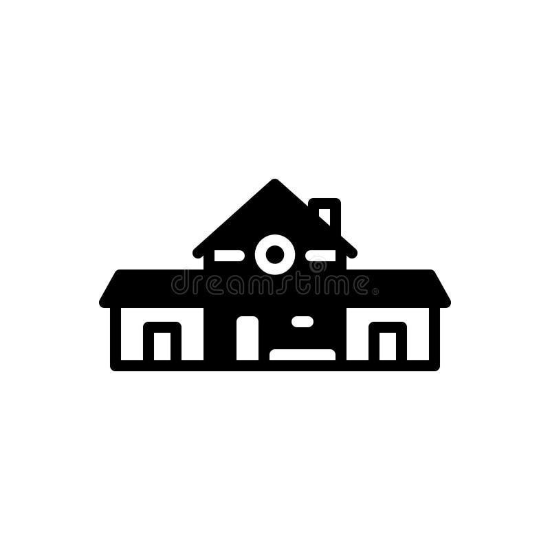 Svart fast symbol för Prefabricated, utveckling och tillverkning royaltyfri illustrationer