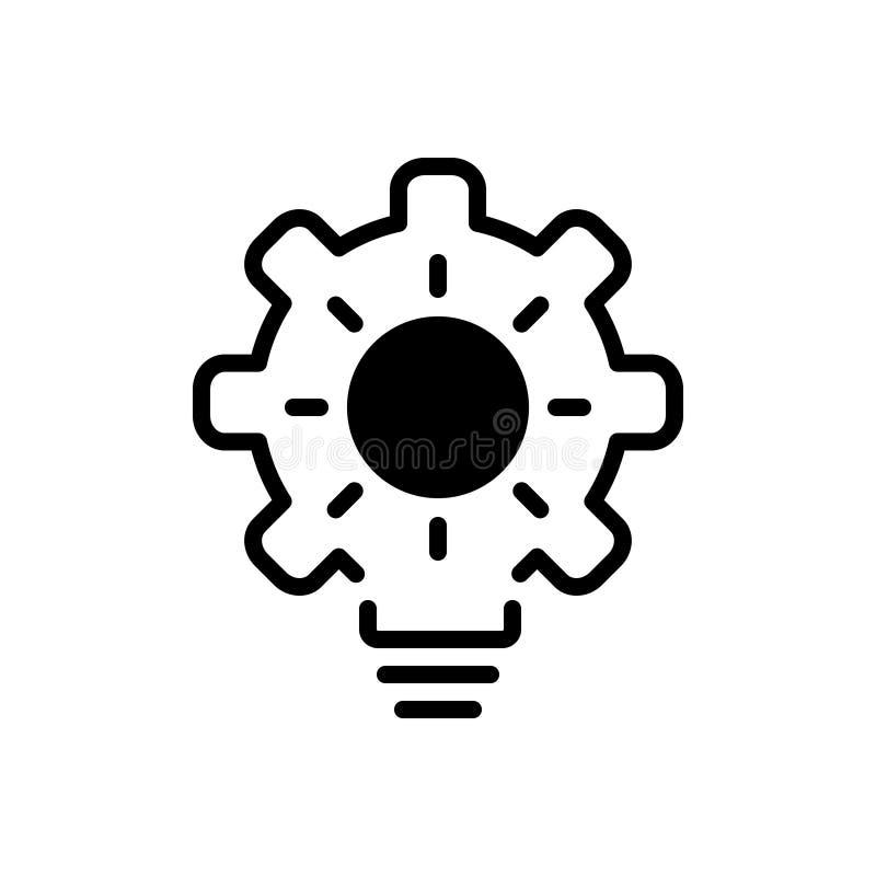 Svart fast symbol för proaktivt, koncentration och aktiv stock illustrationer