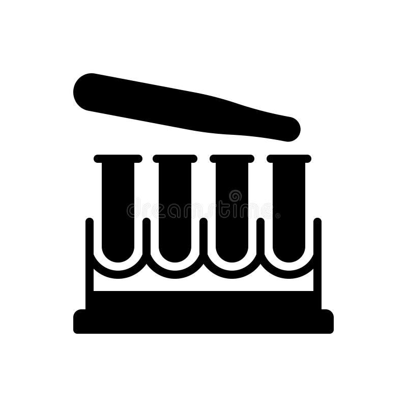 Svart fast symbol för provrör, forskning och laboratorium stock illustrationer