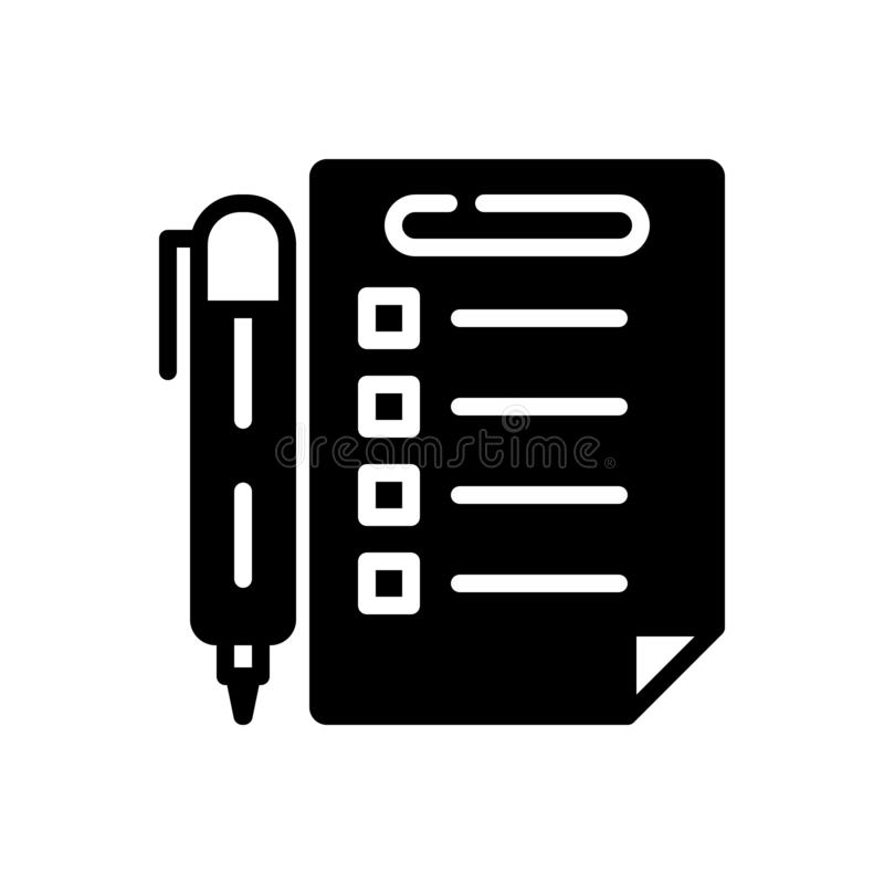 Svart fast symbol f?r regler, f?reskrift och metod vektor illustrationer