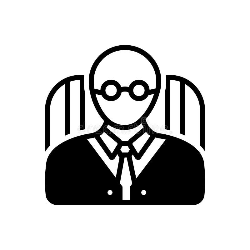Svart fast symbol för rektor, skola och avatar stock illustrationer